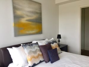 master bedroom with print